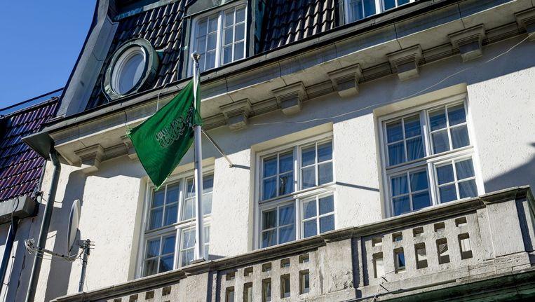 Gevel van de Saoedische ambassade in Stockholm. Beeld epa