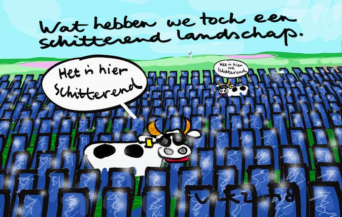 Het nieuws over een mogelijk zonnepark in het buitengebied van Haarle heeft de Haarlenaar Leo Kemper tot de volgende cartoon geïnspireerd.