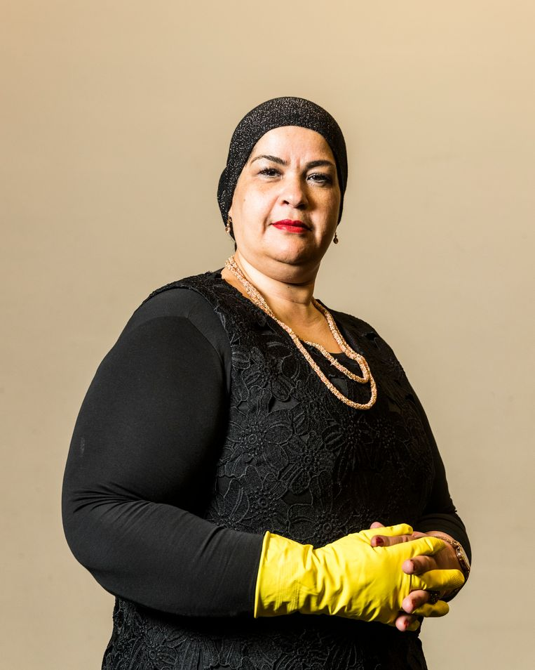 Khadija Tahiri, herkozen voor een vierde termijn als president van het schoonmakersparlement.  Beeld Jiri Buller