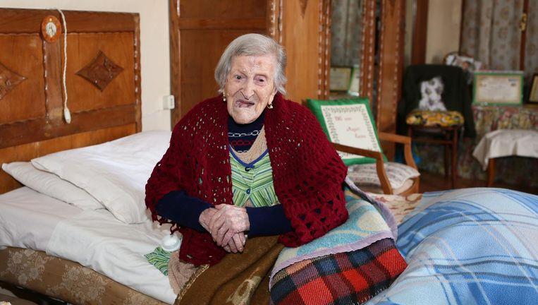 De Italiaanse Emma Morano (1899-2017) werd 117 jaar oud. Bij haar geboorte vlogen er nog geen gemotoriseerde vliegtuigen, mochten vrouwen bijna nergens stemmen en zat Adolf Hitler op de basisschool. Beeld HH