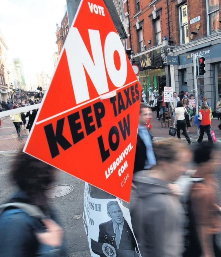 Beeld uit de campagne tegen het Verdrag van Lissabon in 2008 Beeld ap