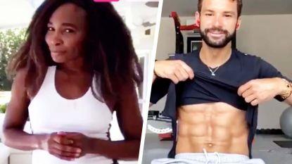Venus Williams door het dolle heen wanneer Dimitrov op haar vraag zijn sixpack even showt