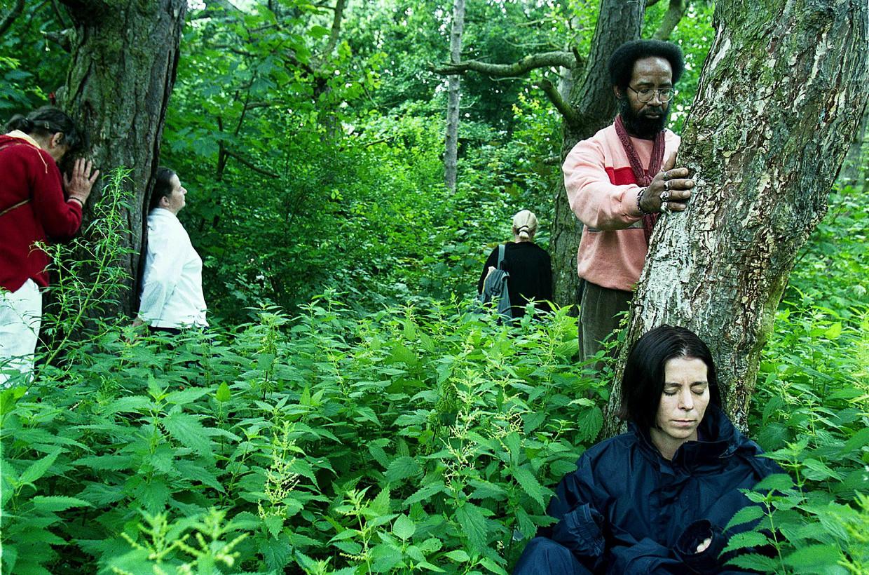 Aanhangers van de Life Foundation proberen in contact te treden met bomen tijdens een spirituele bijeenkomst in juli 2001 in de Scheveningse bosjes.  Beeld Guus Dubbelman / de Volkskrant