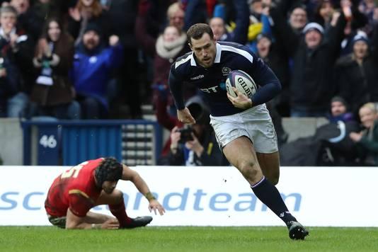 Tim Visser als international van Schotland in actie tegen Wales op 25 februari 2017.