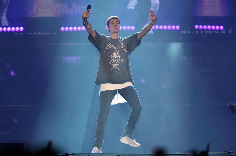 Justin Bieber tijdens een concert in Bologna Beeld EPA