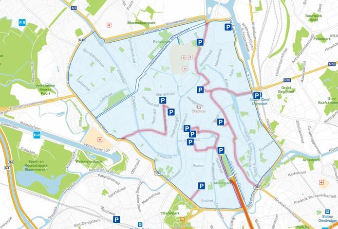De huidige lage-emissiezone binnen de kleine stadsring van Gent.