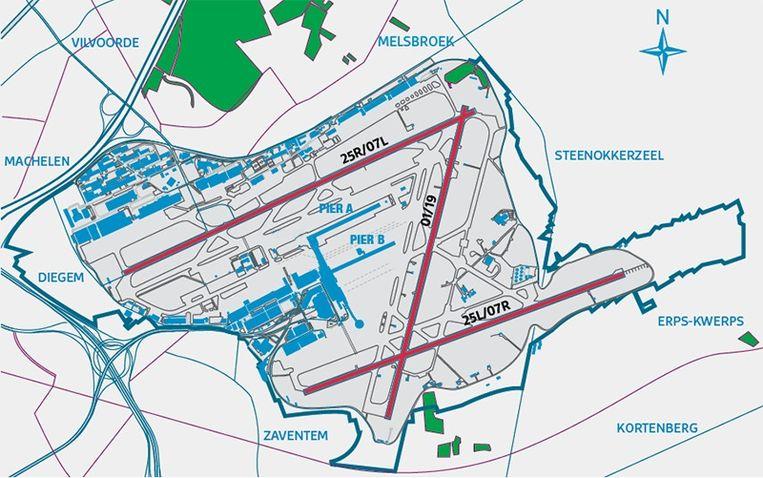 De voorbije weekends werd er gewerkt aan start- en landingsbaan 07L/25R, de bovenste parallelbaan op Zaventem.