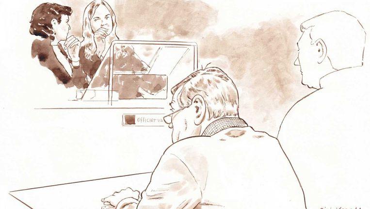Dirk M. in de rechtbank. Beeld Rechtbanktekening ANP