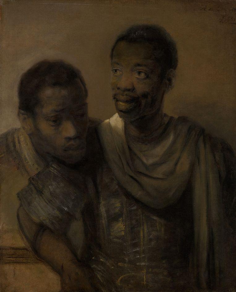 Twee Moren, van Rembrandt van Rijn (1606-1669). 'Veel Nederlanders denken dat Amsterdam toen een helemaal blanke stad was maar Rembrandts schilderij laat zien dat er ook andere groepen woonden.' Beeld Rembrandt van Rijn / Mauritshuis