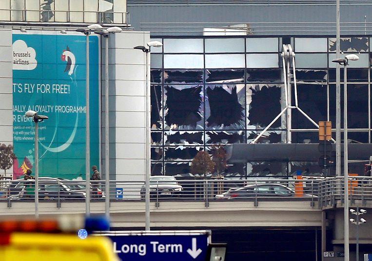 De vernielde terminal van Brussels Airport na de aanslagen van 22 maart 2016.