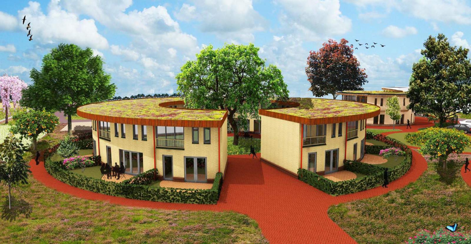 Het defintieve ontwerp voor het Ecodorp in Boekel, van de hand van architect Huub van Laarhoven uit Gilze. Het dorp wordt gebouwd in drie cirkels van elk tien woningen.