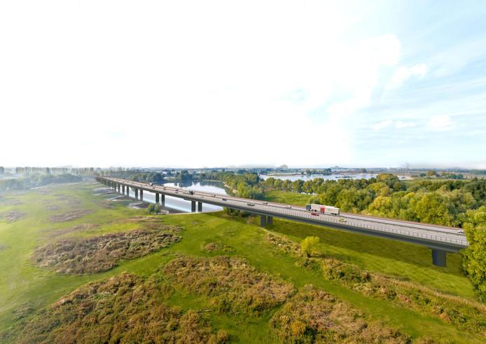 De brug van de A15 gezien vanaf de Kandiadijk in Groessen met aan de horizon Angeren en Boerenhoek.