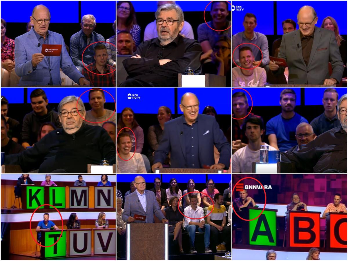 Collage van beelden met Ramon Wiendels, die talrijke televisieoptredens bijwoont. Publiek Slimste Mens de SPELshow toeschouwers