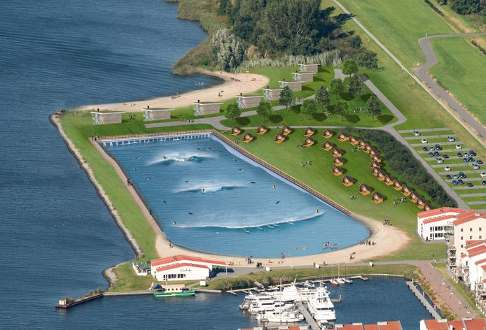 Artist Impression van de Wavepool aan het Eemmeer in Zeewolde, naast De Eemhof. Planning ingeruikname: voorjaar 2019