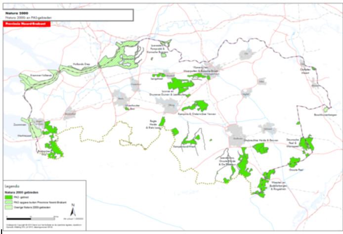 Natura 2000-gebieden in Brabant. Donkergroen de gebieden die als stikstofgevoelig te boek staan.