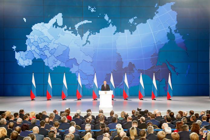Poetin tijdens zijn jaarlijkse toespraak.