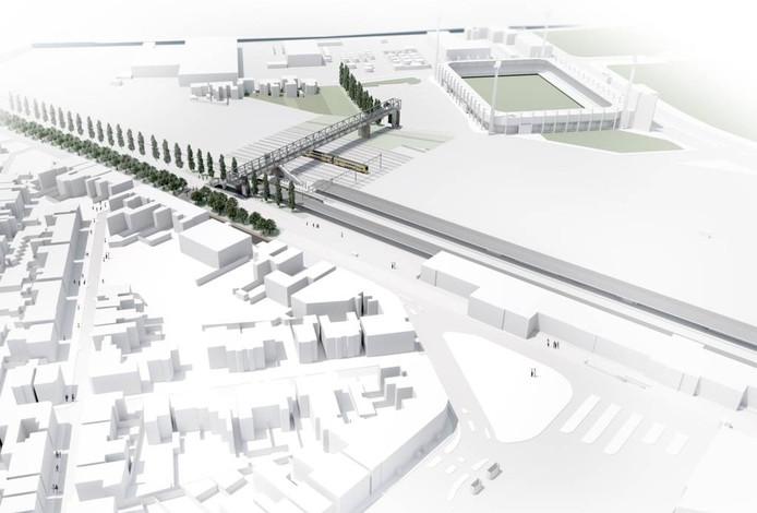 De 150 meter lange passerelle verbindt het P+R-terrein bij het station met het parkeerterrein van het RBC-stadion. Er wordt nog wel nagedacht over betaald parkeren aan de andere kant. illustratie West 8