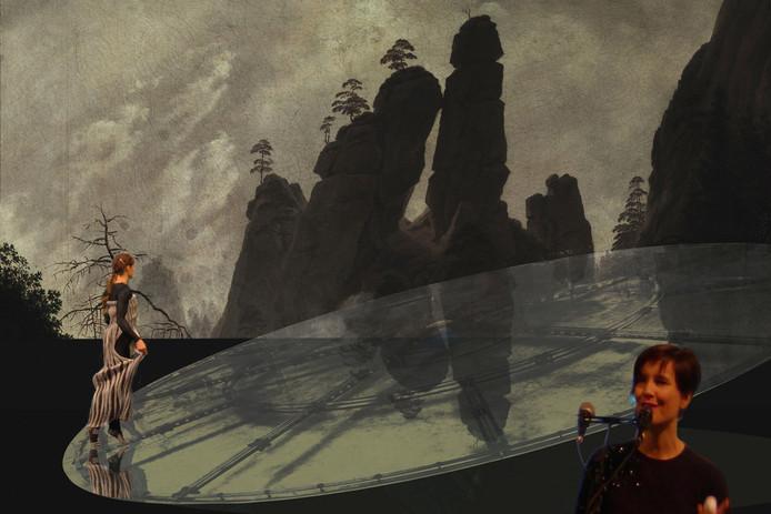 Beeld uit 'Tanzen auf dem Malerwanderweg', met danseres Ulrike Doszmann (links) en zangeres Evelien van den Broek.