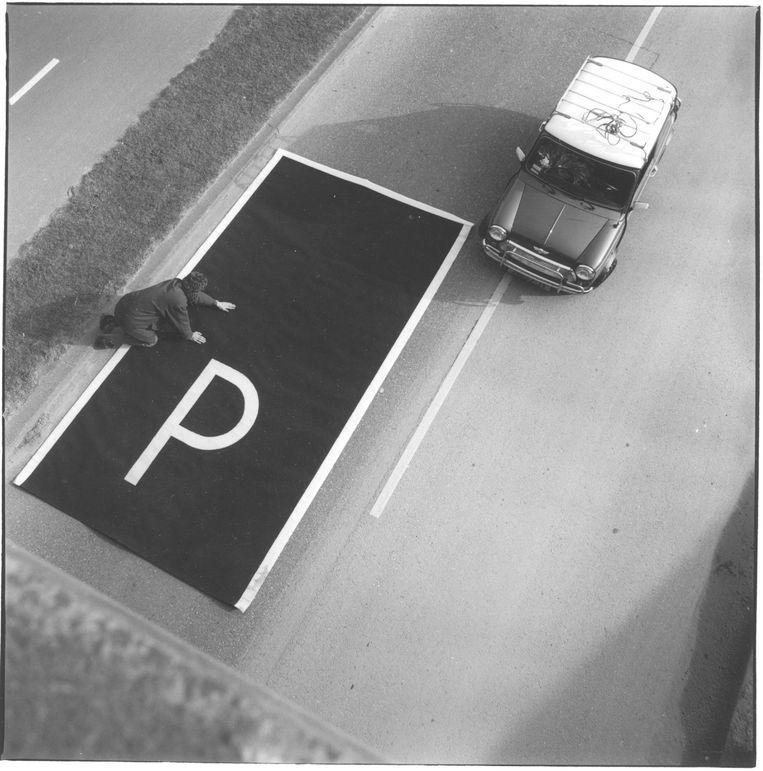 Uitrolbaar parkeervak. Beeld Annaleen Louwes