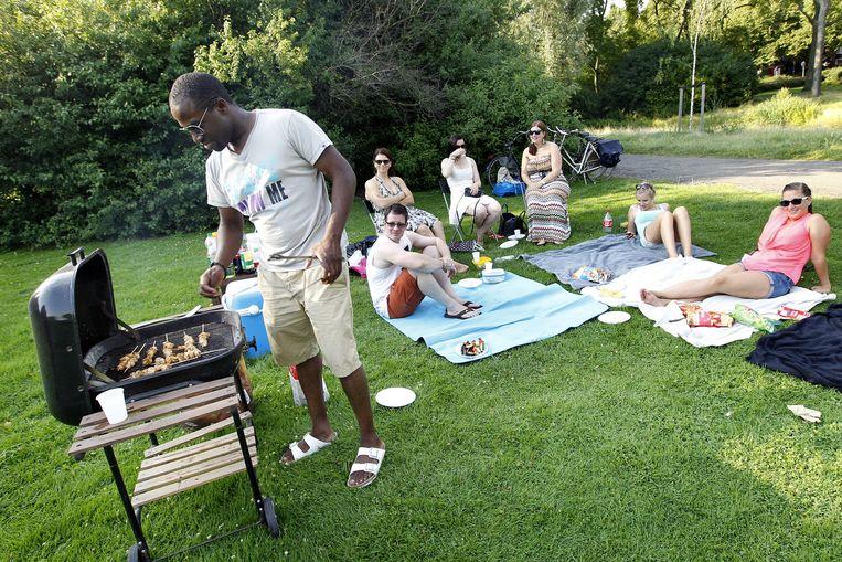 Zonaanbidders barbecuen in het Vroesenpark in Rotterdam. Beeld ANP