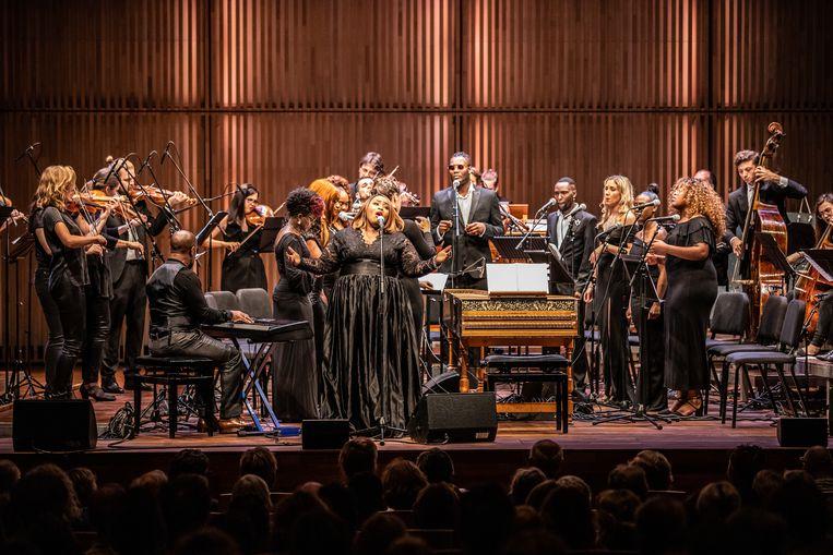 Het collectief Holland Baroque nodigde voor hun nieuwste project, Gospel Baroque, de musici het London Community Gospel Choir uit. Beeld Melle Meivogel