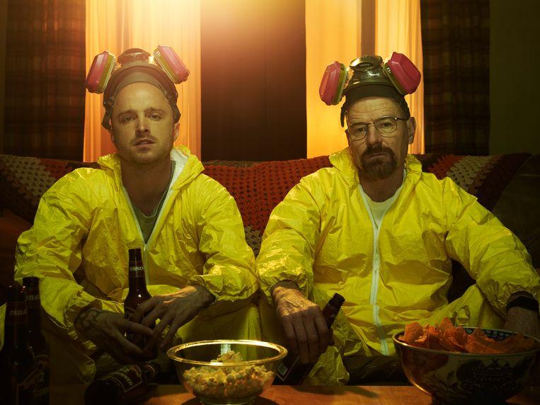 Jesse Pinkman (Aaron Paul) en Walter White (Bryan Cranston) in de serie 'Breaking Bad'.