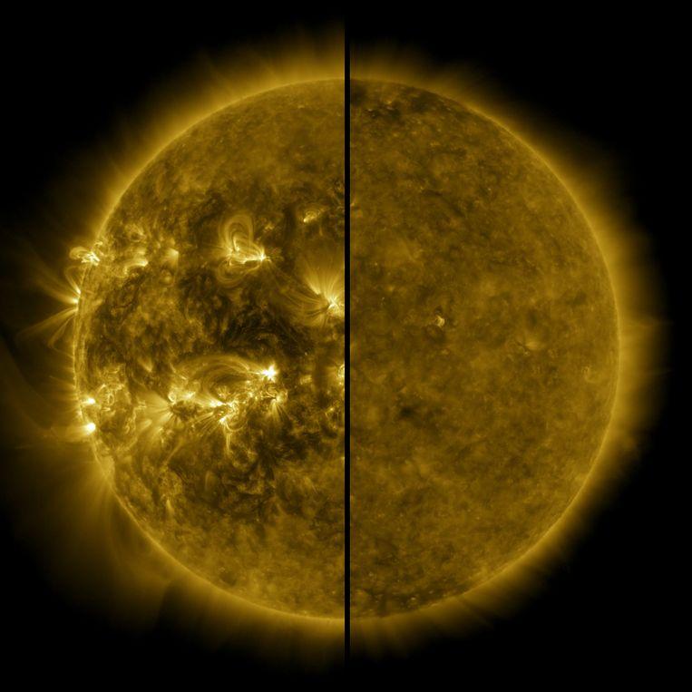 De zon tijdens een zonnemaximum (links, genomen in april 2014) en het laatste zonneminimum (rechts, december 2019) Beeld NASA/SDO