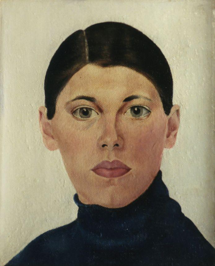 Zelfportret van Bep Rietveld uit 1929, helemaal in de stijl van leermeesteres Charley Toorop.
