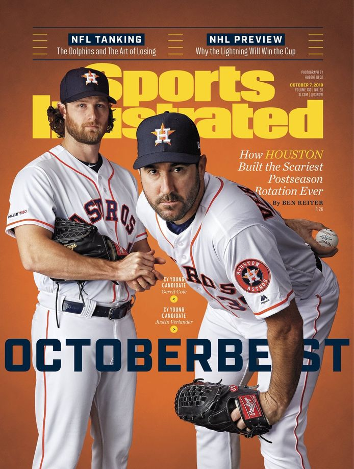 Gerrit Cole (l) en Justin Verlander op de cover van Sports Illustrated.