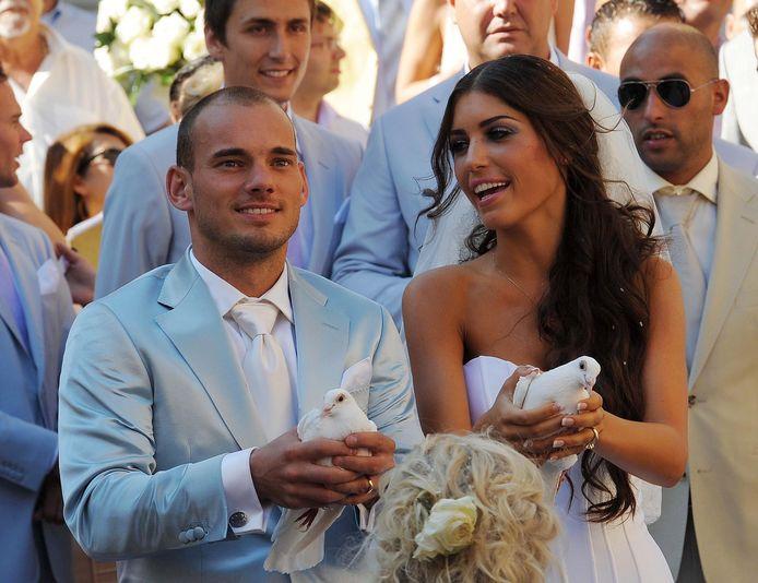 Wesley Sneijder en Yolanthe Cabau van Kasbergen trouwden in 2010.