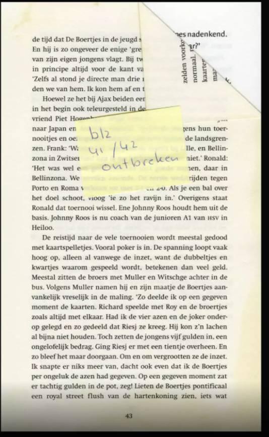 Soms ontbreken hele pagina's, waar weer een andere lezer met een geeltje op wijst