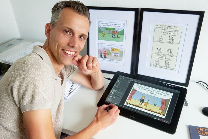 Sinds een half jaar tekent Doede Okkema zijn cartoons digitaal.
