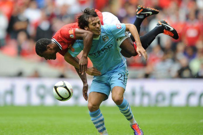 David Silva in 2011 in actie tegen Manchester United.