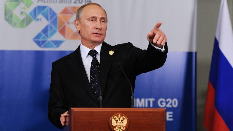 Russisch president Vladimir Poetin op de top van de G20 in Brisbane, Australië.