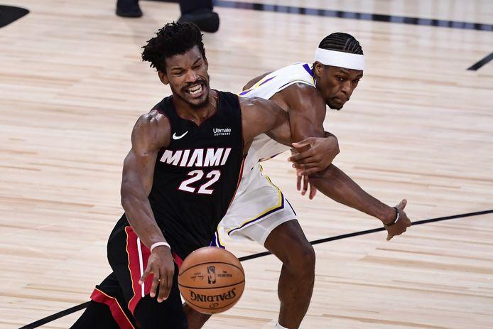 Jimmy Butler van Miami Heat in gevecht met Rajon Rondo van de Los Angeles Lakers.