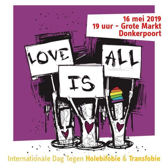 Het campagnebeeld  om samen de vlag te hijsen tegen Holebi- en Transfobie.