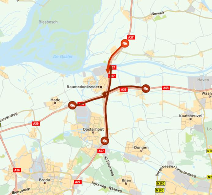 Op de A27 loopt de vertraging op tot meer dan een uur tussen Oosterhout-Oost en Hank.