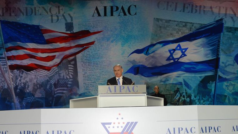 Israëlische premier Benjamin Netanyahu adresseert het American Israel Public Affairs Committee (AIPAC). Beeld getty