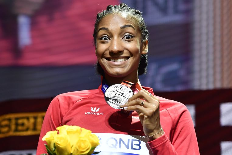 Nafi Thiam na het WK in Doha, waar ze zilver pakte na Katarina Johnson-Thompson.