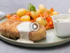 Cochon de luxe: noisette de porc ardennaise panée, fromage aux herbes