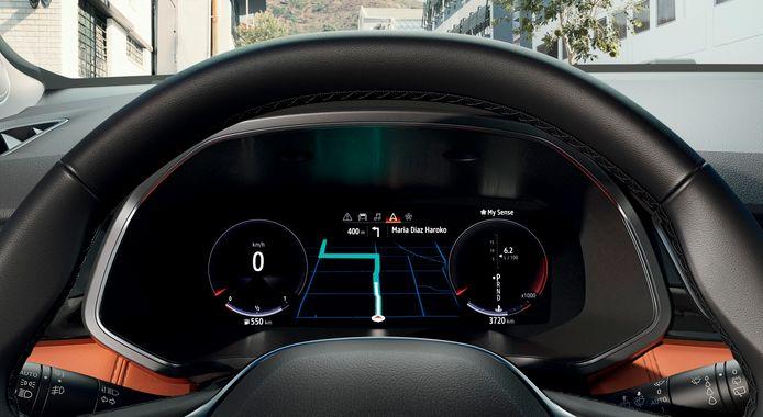 De digitale cockpit werkt duidelijk en snel