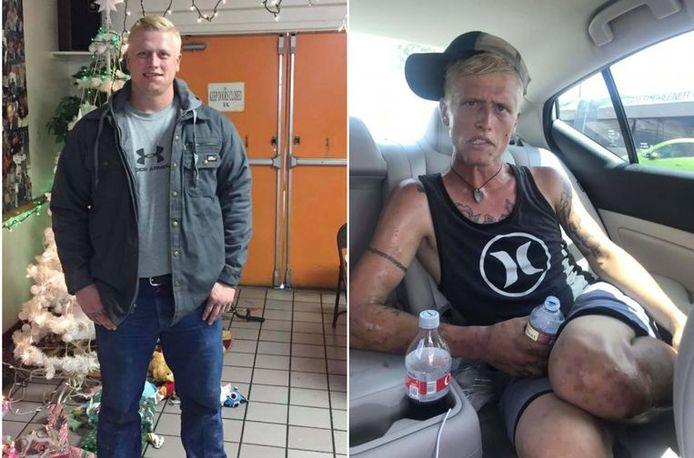 Deux photos de Cody Bishop à sept mois d'intervalle.