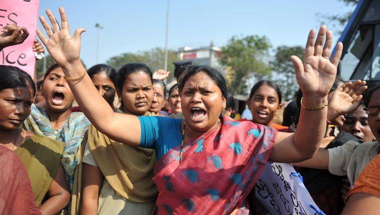 Een van de vele protesten na de groepsverkrachting in New Delhi. Beeld afp