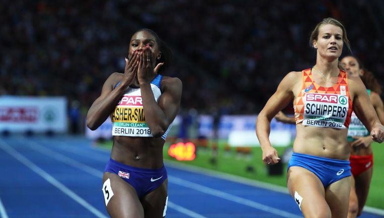 Dina Asher-Smith versloeg Schippers op de 200 meter.  Beeld EPA