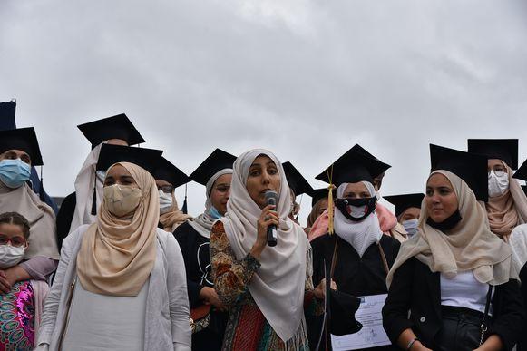 Manifestatie in Brussel tegen hoofddoekenverbod.