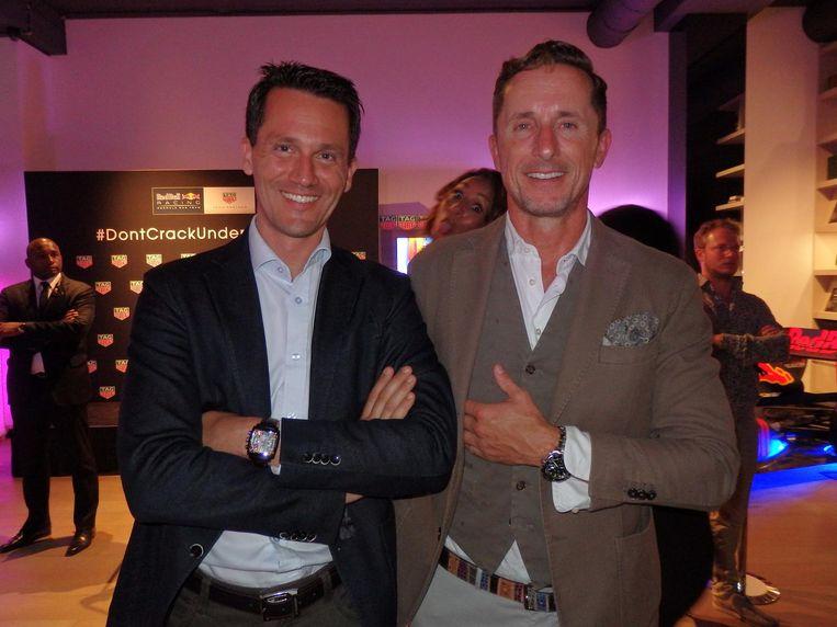 Benjamin Winkler en Philippe Roten van horlogemerk Tag Heuer. Show that product! Beeld Hans van der Beek