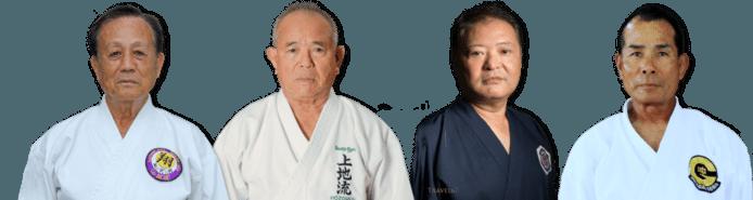 De vier grootmeesters: Giyu Gibo, Takehiro Gaja, Isao Yagi en Masanari Kikugawa