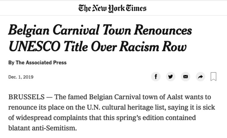 New York Times over Aalst carnaval.
