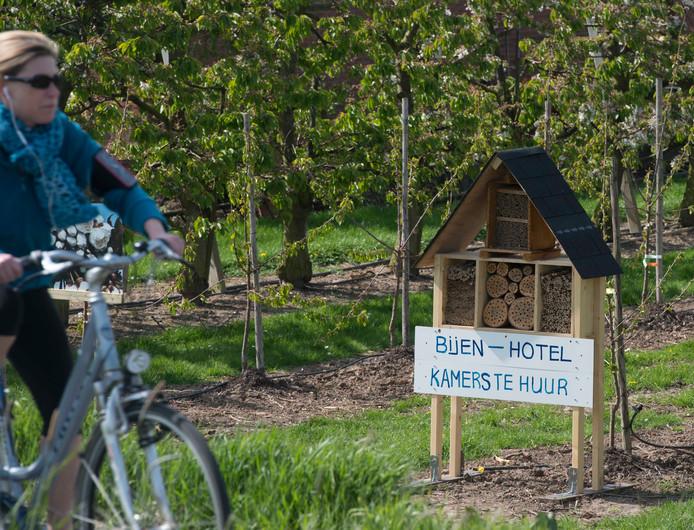 Een bijenhotel is een manier om wilde bijen meer nestruimte te bieden.