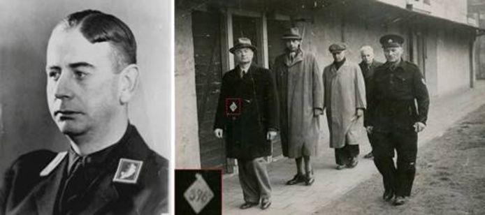 De Blocq van Scheltinga, links in uniform en rechts bij de gevangenis in Scheveningen.